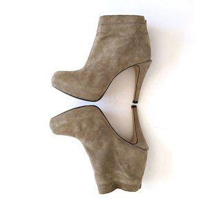 Zara Suede Heeled Platform Taupe Ankle Booties